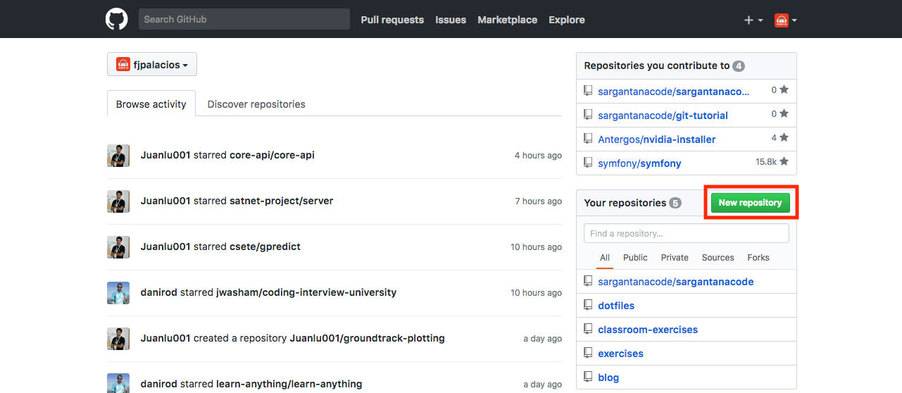 Nuevo repositorio en GitHub