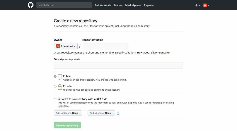 Creando nuevo  repositorio en GitHub