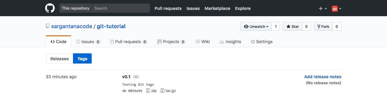 Sección de tags en GitHub